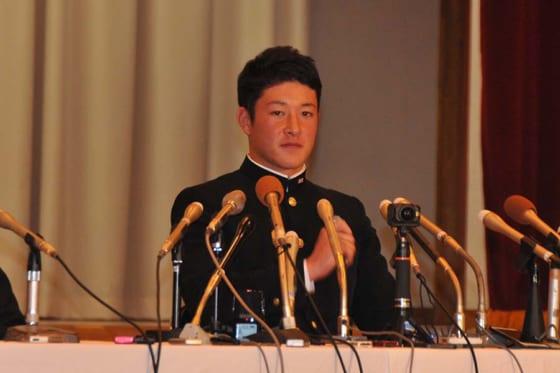 北海道日本ハムが交渉権獲得に対してコメントをした金足農・吉田輝星※写真提供:Full-Count(写真:篠崎有理枝)
