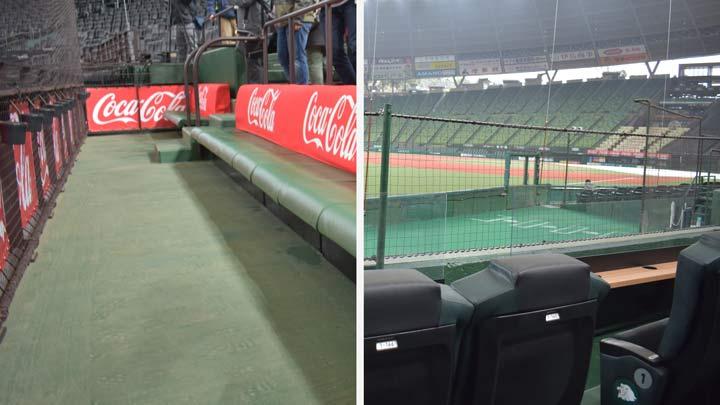コカ・コーラ ダグアウトトップシート(左)とブルペンかぶりつきシート(右)(C)PLM