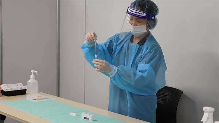 水際対策として試合当日に行われた抗原検査の様子(撮影・菊地綾子)