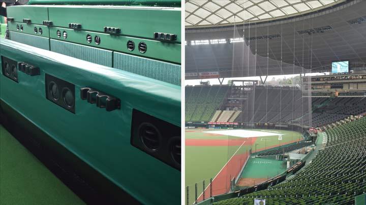 ダグアウト内の空調設備(左)と防球ネット(右)(C)PLM