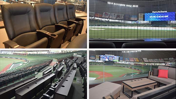 ネット裏エリアに新設された座席。アメリカン・エキスプレス プレミアムエキサイト™ シート(左上)とその景色(右上)は極上だ(C)PLM