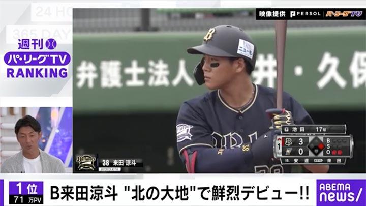 来田涼斗が鮮烈デビューを飾る!「ABEMA バズ!パ・リーグ」でランキングをチェック! 2021 #16